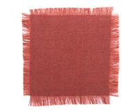 Frayed fabric square over white Stock Photo