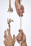 Frayed rope. Pulled by hand Stock Image