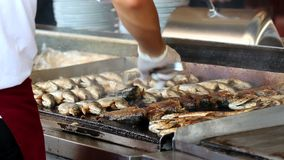 Fraying fish on the grill. stock video footage