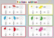 Frazioni aggiunta, fogli di lavoro stampabili delle frazioni per gli studenti ed insegnanti, problemi dell'aggiunta della frazion royalty illustrazione gratis