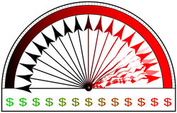 Frazzled Dollar-Messinstrument Stockfoto