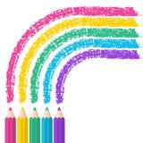 Färben Sie Bleistifte auf weißem Hintergrund mit Regenbogenlinien Vector Kranken Lizenzfreie Stockfotos