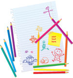 Färben Sie Bleistifte und Hand gezeichnete Leute Lizenzfreie Stockfotos