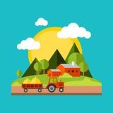 Färben Sie Illustrations-Dorflandschaften des Vektors flache Lizenzfreie Stockbilder