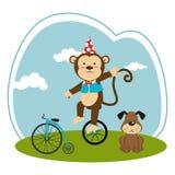 Färben Sie Landschaft mit Hund und Affen im Unicycle Stockbild