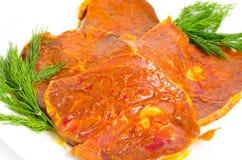förberedda steaks för mat pork Fotografering för Bildbyråer