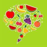 Früchte in der Sozialspracheluftblase Lizenzfreies Stockfoto