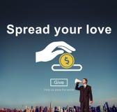 Fördela din förälskelse, portion somhänder donerar begrepp Royaltyfri Foto