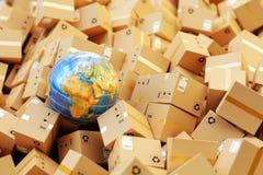Fördelningslager, internationell packesändnings, globalt frakttrans.begrepp Arkivfoto