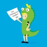 Förderer im Dinosaurierkostüm Vector flache Karikaturillustration, im, nach anderen suchend Arbeit Lizenzfreie Stockfotos