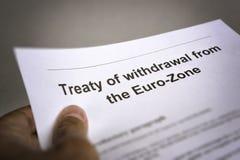 Fördragtillbakadragande från euroområdet Arkivbilder