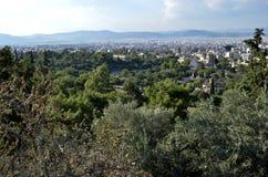 Fördärvar av Aten, marknadsplatsen Arkivfoton