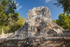 Fördärvar av den forntida Mayan staden av Chicanna Arkivbild