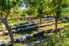 fördärvar av den legendariska forntida staden av Troy Arkivbild