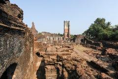 Fördärvar av det St Augustine klosterkomplexet på gamla Goa Royaltyfri Fotografi