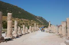 Fördärvar av forntida stad av Ephesus, Turkiet Arkivbild