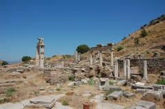 Fördärvar av forntida stad av Ephesus, Turkiet Arkivfoton
