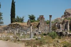 Fördärvar av forntida stad av Ephesus, Turkiet Royaltyfri Bild