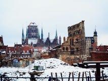 Fördärvar av gammal stad i Gdansk Polen Royaltyfri Fotografi