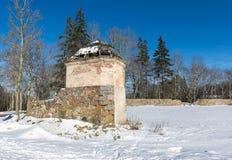 Fördärvar av gammalt säteri i Krimulda, Lettland, Europa Fotografering för Bildbyråer