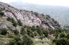 Fördunkla i bergen och kullen av stelnad vulkanisk lava Arkivbilder