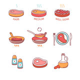 Freído en cazuela del filete y el cocinar, aceite, sal, carne Foto de archivo