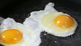 Freír dos huevos en un sartén almacen de metraje de vídeo