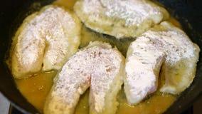 Freír los prendederos de pescados en el sartén Cocinar la empanada frita hecha en casa de la hamburguesa de los pescados Freír la almacen de video