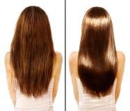 Före och efter. Skadat hår Treatmen Royaltyfri Bild