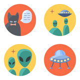 Freak  flat icon set for contacts. Freak flat icon set for contacts, four-piece, isolated on white background, circle shape Stock Photography
