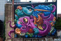 The Freak Lunchbox Mural. The mural was designed by Jason Botkin, adorns the Freak Lunchbox in Halifax, Nova Scotia Stock Photography