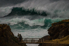Freak wave  at the coastline in Portugal Royalty Free Stock Photography