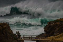 Freak wave  at the coastline in Portugal Stock Images
