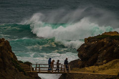 Freak wave  at the coastline in Portugal Stock Photos
