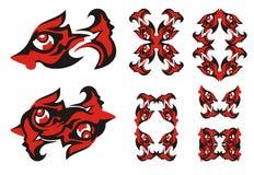 Freakish fish symbols Royalty Free Stock Images