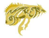 Freakish gold fish. Tribal abstract fantastic symbol in the form of fish in golden tones formed by a horse Stock Photography