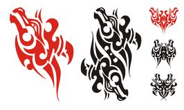 Freakish horse head symbol and symbols formed from it. Tribal unusual butterfly tattoo and double wavy horse head created from flaming horse head Royalty Free Stock Photo