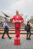 Freakish man outside Germani pavilion at Expo 2015 in Milan, Ita Stock Images