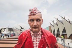 Freakish man outside Germani pavilion at Expo 2015 in Milan, Ita Royalty Free Stock Photography
