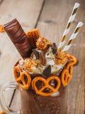 Freakshake del cioccolato di Brown Fotografia Stock