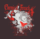 Freaky Design. A Graphic with caption Chemical freak for T-shirt prints Stock Image