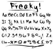 Freaky font alphabet. Graphic freaky or grungy font with alphabet in capitals and lower cases, numbers, monetary  and other symbols Stock Image