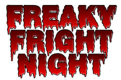 Freaky Fright Night halloween theme. Illustration of freaky fright night title, a halloween theme isolated on white Royalty Free Stock Images