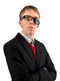 Freaky guy glaring through broken sunglasses, usable for many co Stock Photos