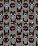Funny Hand Drawn Abstract Halloween Vector Pattern. Bunny, Cat and Skull Black Heads. stock illustration