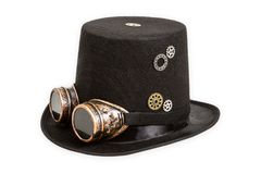Freaky Steampunk hat. Steampunk hat isolated on white background Royalty Free Stock Photos