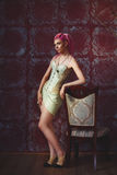 Freaky young female model wearing corset Royalty Free Stock Images