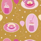 Freakyshakes mignon, tasses de thé, et modèle sans couture de ballons illustration de vecteur