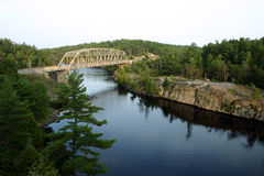 Freanch River Canada. French River Ontario Canada & bridge Royalty Free Stock Images