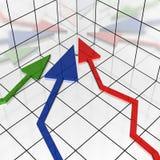 frecce 3d nella rappresentazione coordinata all'origine Immagini Stock